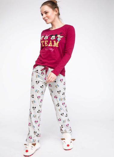 DeFacto Mickey Mouse Lisanslı Pijama Takımı Ekru